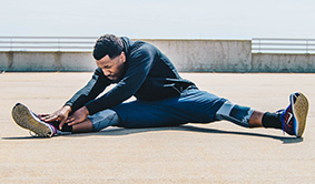Athletic stretches. Keep your feet and body healthy